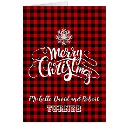 Red Buffalo Merry Christmas Snowflake Custom Card - merry christmas diy xmas present gift idea family holidays