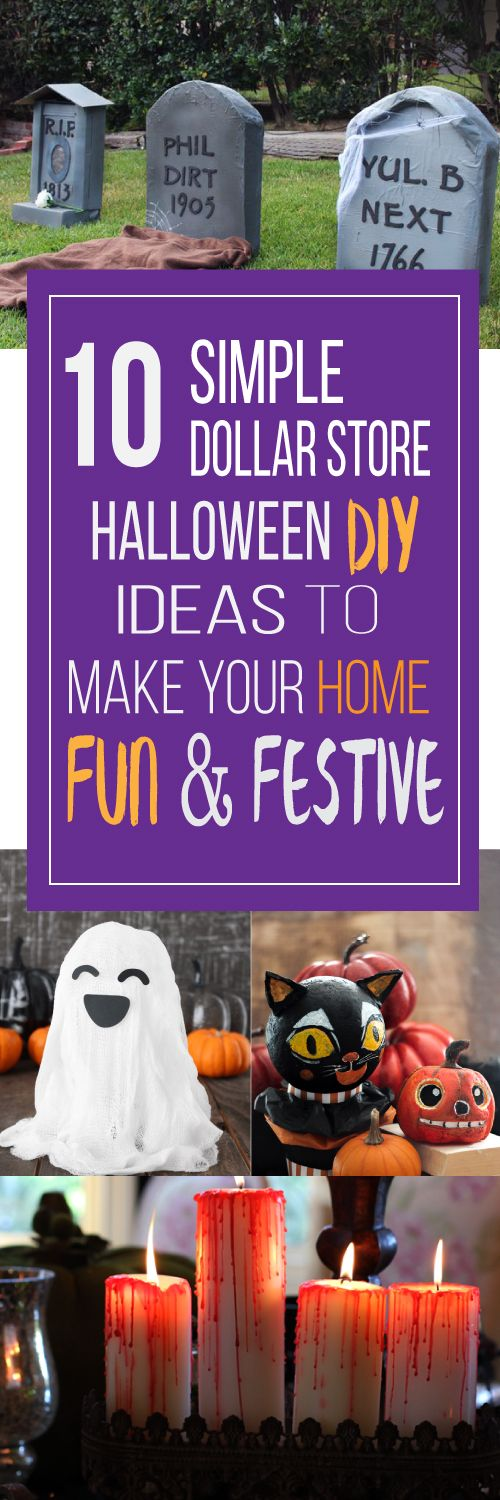 These 10 easy Dollar Store Halloween decorations are THE BEST! I'm so happy I found these GREAT ideas! Now I have some good dollar store Halloween DIY decor projects. Definitely pinning!