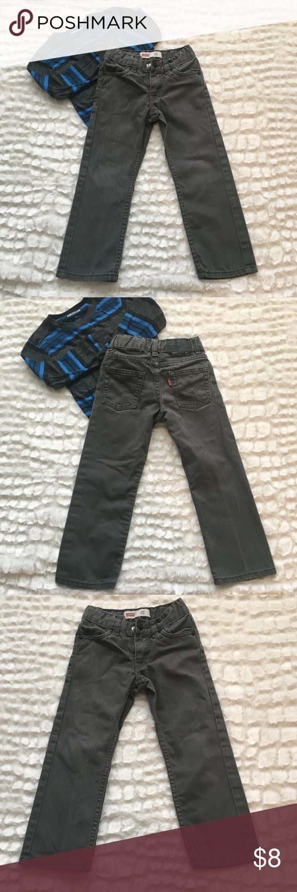 Boys Levi's 4 regular 511 slim gray jeans Boys Levi's size 4 regular 511 slim gray jeans. With belt loops. Adjustable waist. Front zipper and clasp fastener. 2 pockets in the front and 2 in the back. Good condition Levi's Bottoms Jeans
