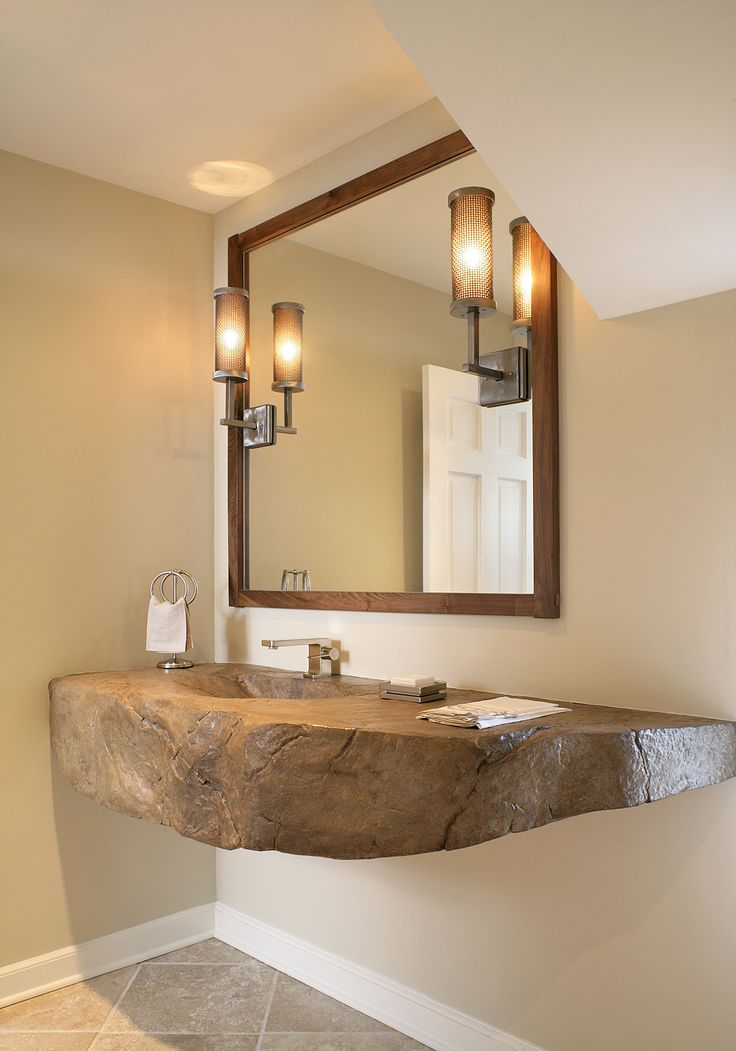 Pic Of Contemporary Bathrooms from Nancy Leffler Mikulich on HGTV The custom concrete floating vanity with a Nakashima integrated sink brings the outdoors inside
