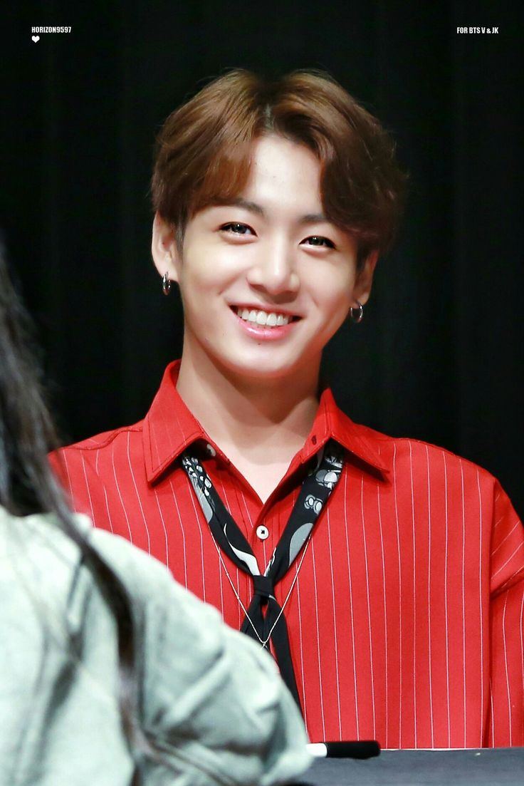 Jungkook smile red shirt