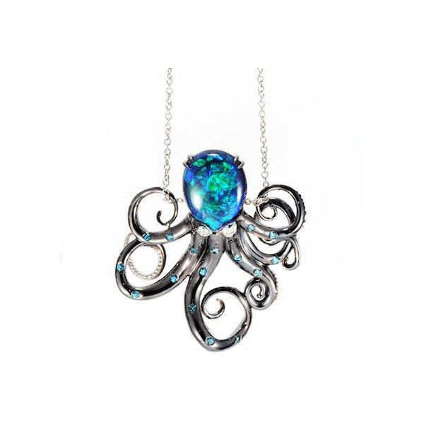 See Life Opal & Diamond Octopus Pendant ($11,900) ❤ liked on Polyvore featuring jewelry, pendants, necklaces, diamond jewelry, octopus jewelry, iridescent jewelry, opal jewelry and diamond pendant