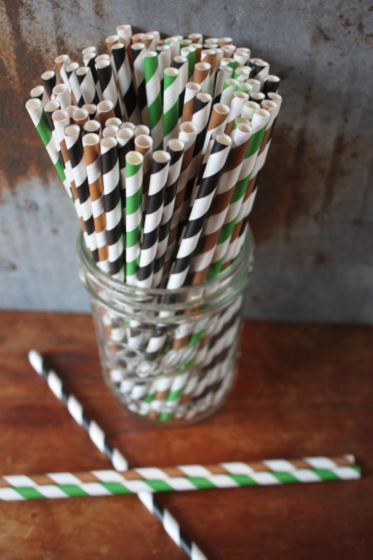 Camouflage Party Straws - Paper Straws - Set of 30 stripes - black, green, brown. $5.00, via Etsy.