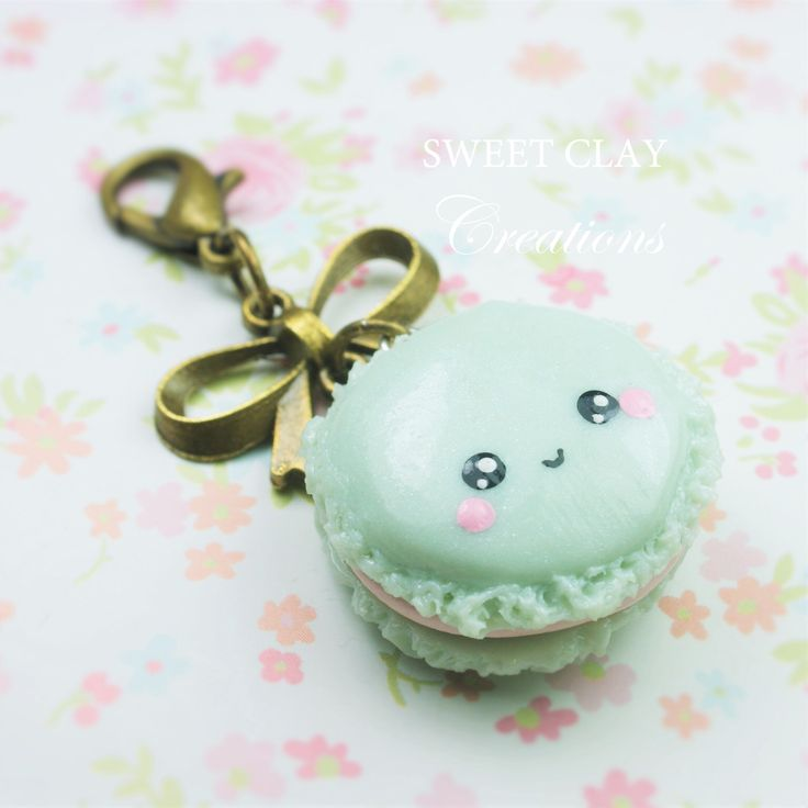 Macaroon Kawaii charm keychain. Polymer clay charm handmade jewelry by Sweet Clay Creations