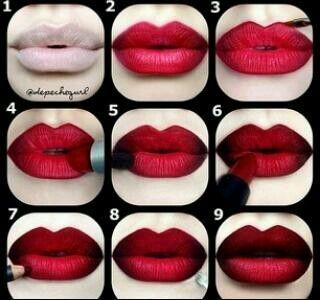 16. Deep Red Ombre Lip Tutorial - 29 Lovely Lipstick Tutorials to Spice up Your Makeup ... → Makeup