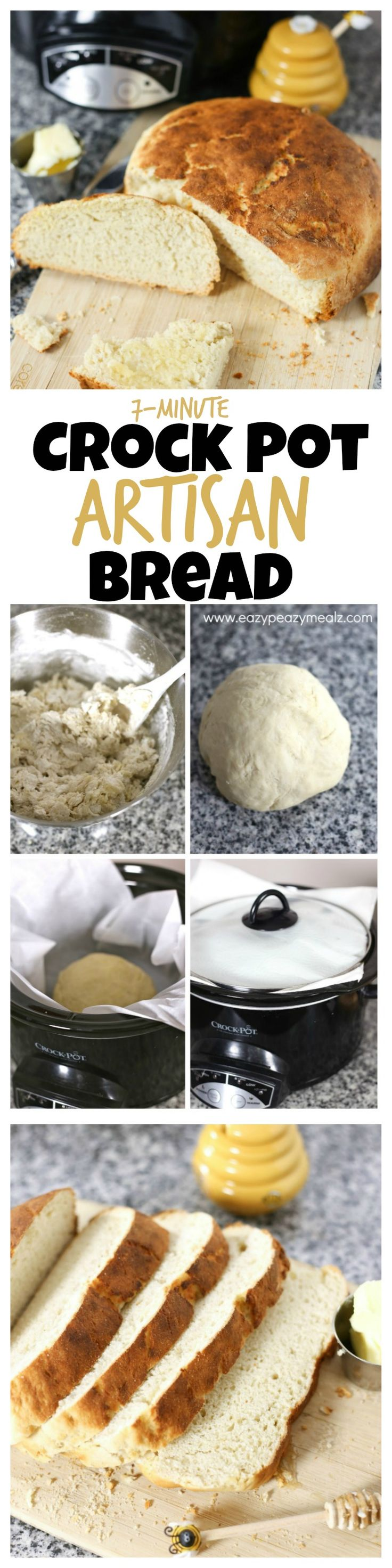 All you need is 7 minutes of your time and a slow cooker! Then you can have this AMAZING and EASY bread. - Eazy Peazy Mealz