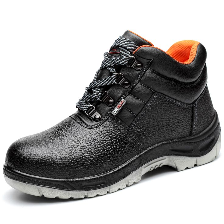 mens casual black steel toe caps work safety shoes breathable spring autumn soft leather tooling ankle boots platform lace-ups