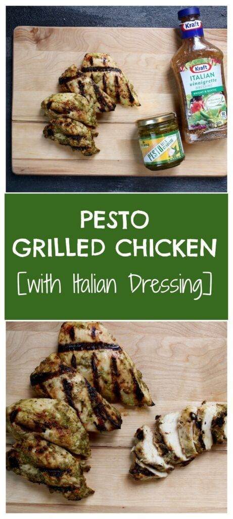 Italian Pesto Grilled Chicken makes the most of a few store bought staples for one simple and flavorful healthy chicken dish! @Mom to Mom Nutrition- Katie Serbinski, MS, RD