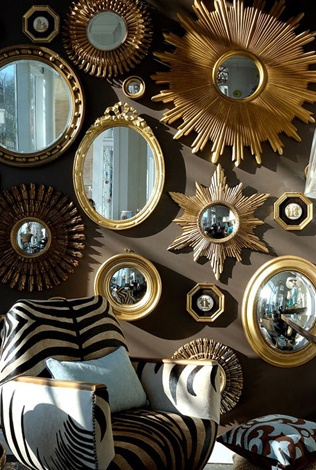 collage of sunburst and convex mirrors