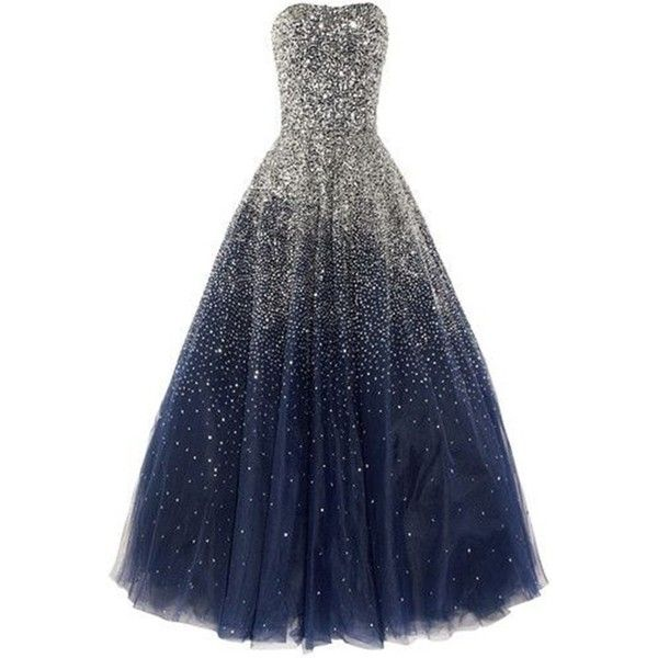 Lovelybride Amazing Strapless Beaded Prom Dress Long Formal Evening... ($218) ❤ liked on Polyvore featuring dresses, gowns, blue formal gown, formal gowns, blue prom dresses, beaded gown and prom dresses