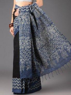 Black-Indigo Uttarakhand Cotton Batik Printed Saree