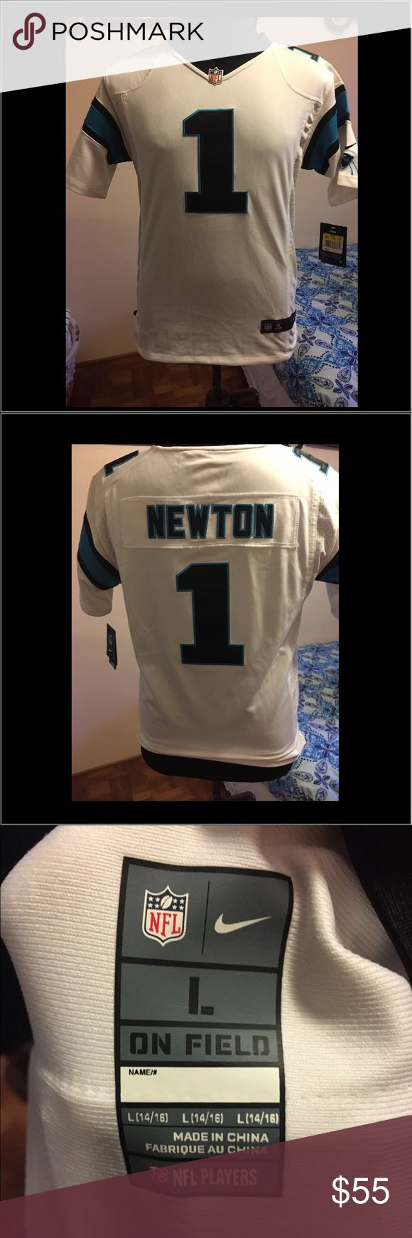 Nike NFL Carolina Panthers Cam Newton Youth Large Brand New NFL Carolina Panthers White Cam Newton Youth Jersey Large Stitched Nike Shirts & Tops