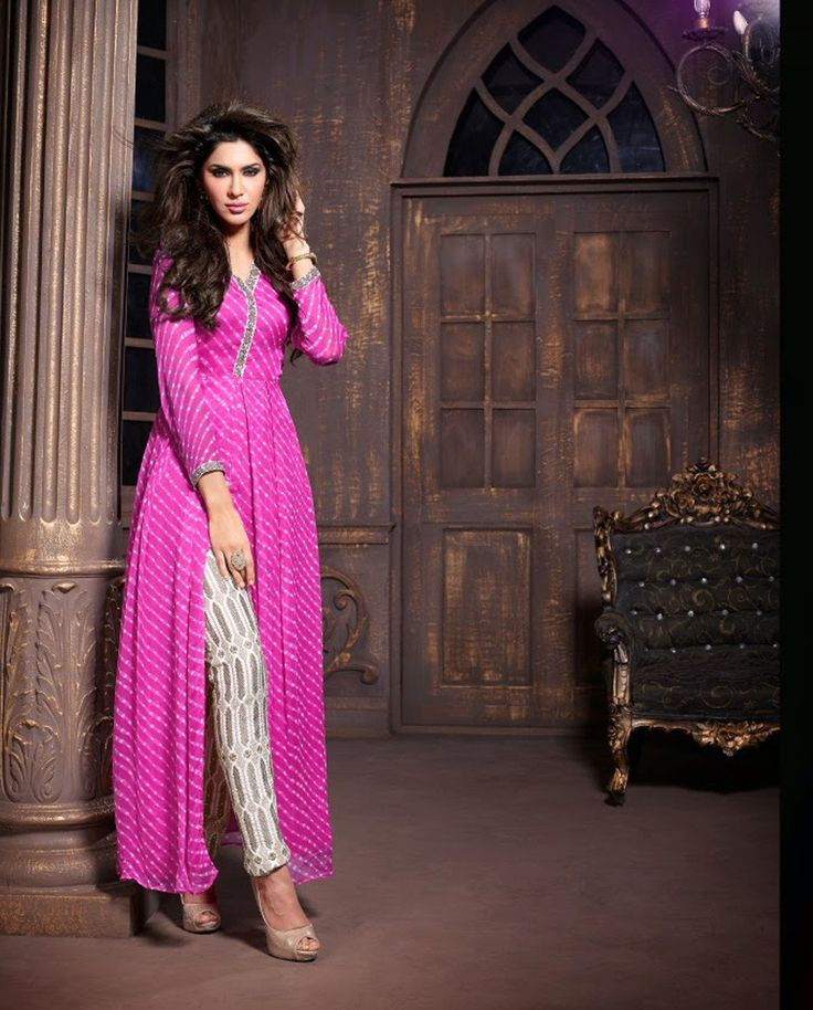 Pink front slit suit with embroidered bottom   1. Pink front slit poly chiffon suit2. Comes with matching bottom and dupatta3. Can be stitched upto size 42 inches