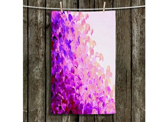 Ebi Emporium Fine Art Colorful Bathroom Bath Hand Face Towels and Wash Cloths, Artist Julia DiSano on Dianoche Designs, Whimsical Abstract Painting Design Home Decor Accessories #bathroom #towel #art #fineart #purple #lavender #lilac #splash #ocean #waves #brushstrokes #ombre #elegant #modern #dorm #shower #decor #homedecor #decorative #handtowel #facecloth #bathtowel