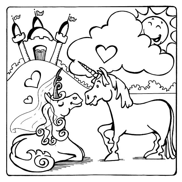 Free Image On Pixabay Unicorns Castle Heart Love Sun Unicorn Coloring Pages Love Coloring Pages Coloring Pages