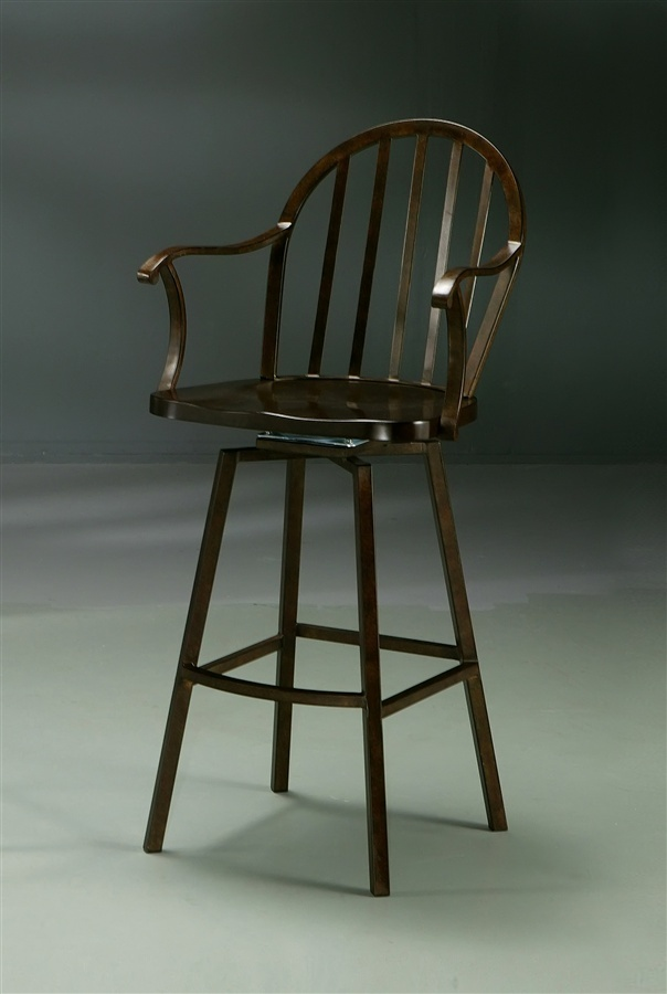 Pastel Traditional Swivel Stool W Arms In Autumn Rust