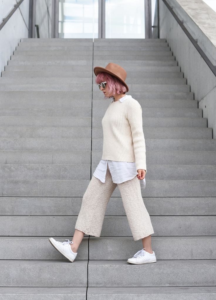 Trend 2018 Hosen Outfit Ootd Knit Strick Culotte Trend