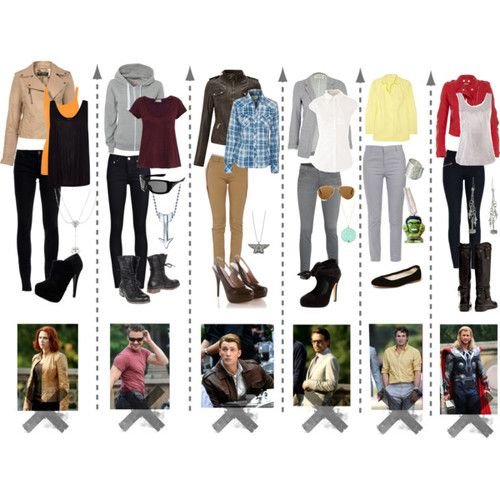 I think I'd wear all of these.  Nice outfits!  //  Marvel's 'The Avengers' casual outfits