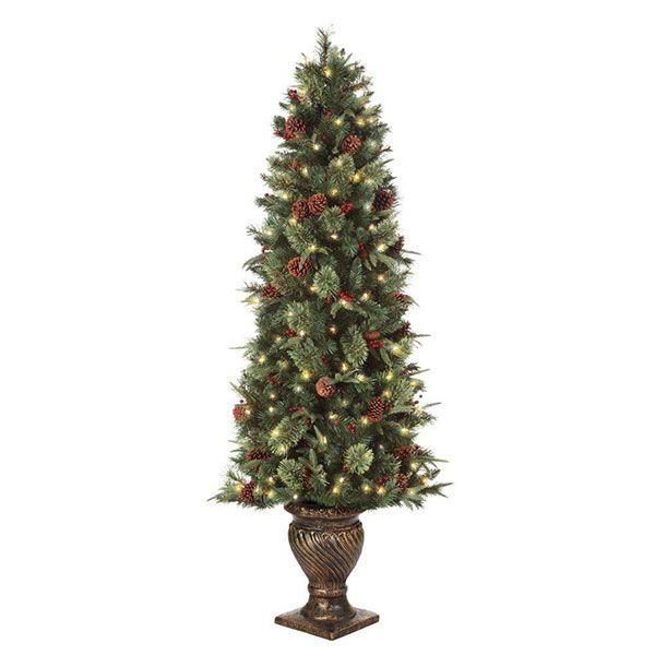 6 5 Ft Pre Lit Potted Artificial Christmas Tree With