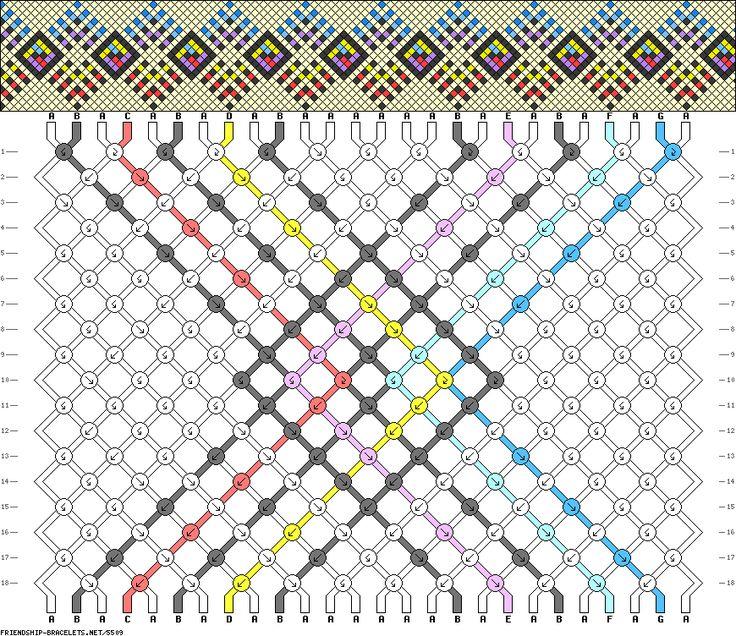 Friendship Bracelet Pattern 5509 -  26 strings, 7 colours new