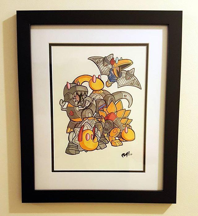 Reposting @blackoutandshout: Matt Moylan @LilFormers art in a matte frame on the wall where it belongs. #transformers #dinobots #art #transformersart