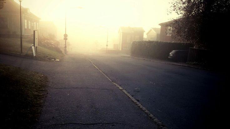 En tidig morgon med dimma.