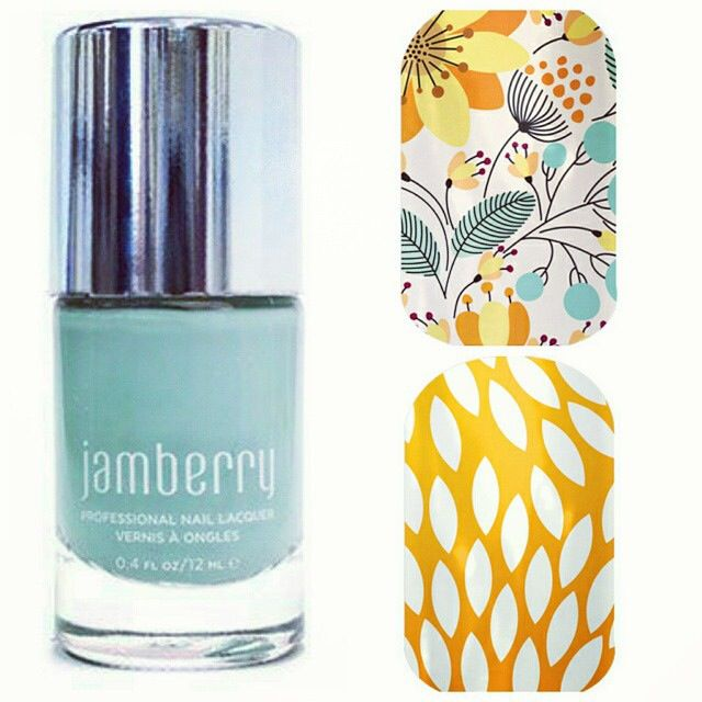 Jamberry Mint Green Lacquer paired with Sunny Lotus and Sweet Whimsy