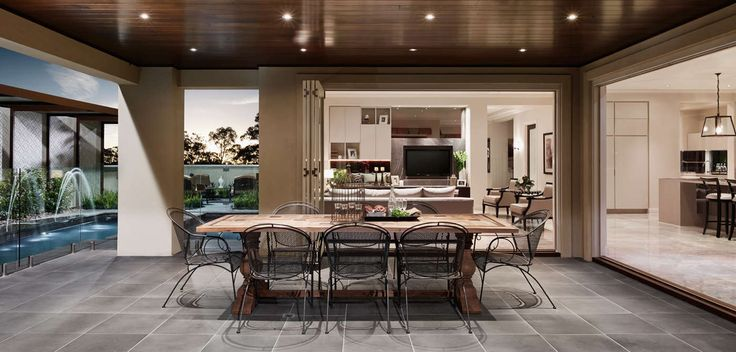 OUTDOOR: Oak and walnut timber furniture, balanced by the elegance of mirrored and ornate feature pieces. Visit our Maison Classique Lookbook style here: http://www.metricon.com.au/get-inspired/lookbook/maison-classique