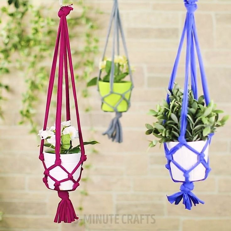 5 Minute Crafts 5 Min Crafts Op Instagram How To Make A Cool Plant Hanger From An Old T Shirt 5minutecrafts Diy Plant Hanger Hanger Crafts Plant Hanger