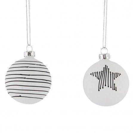 House Doctor Glazen Ornamenten Wit/Zwart (6 stuks)