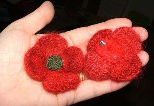 Veterans Day Poppies (patterns in knit and crochet)