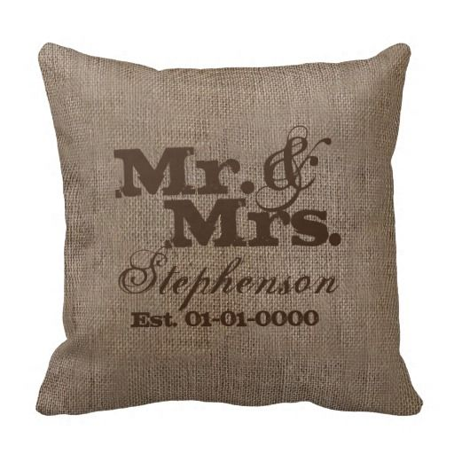 Custom Brown Rustic Burlap-Look Wedding Keepsake Throw Pillows
