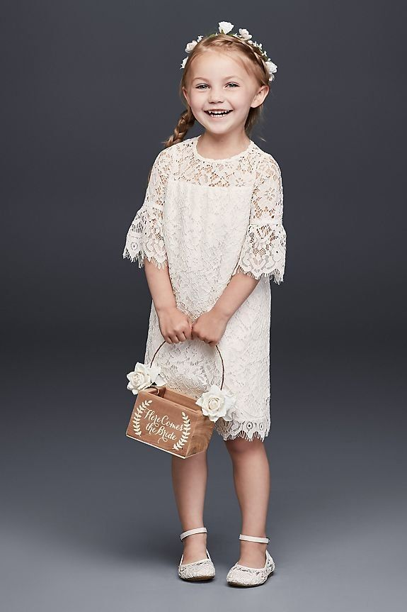 Short Lace Flower Girl Dress with Illusion Sleeves | David's Bridal
