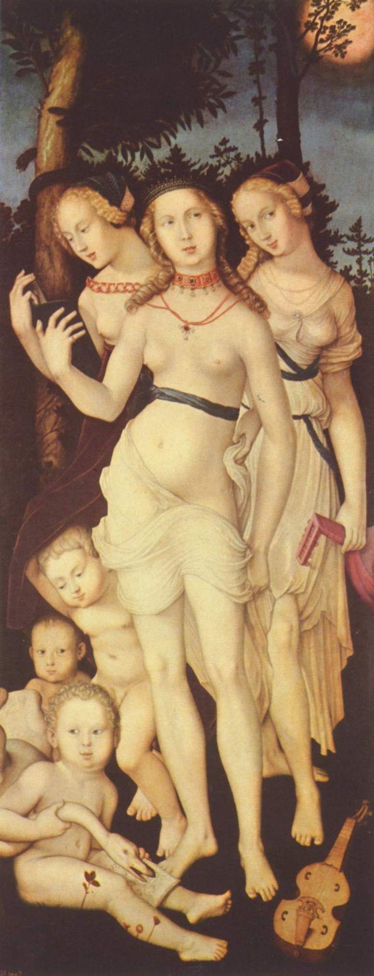 """37. harmony-or-the-three-graces-. En el grupo de dos tablas de Baldung en el Museo del Prado identificadas como """"las edades y la muerte"""" y """"las tres gracias"""" (o la armonía) compone un conjunto temático de carácter moralizante sobre la brevedad de la vida y los placeres mundanos que modifica el desnudo italiano tanto por encuadrarlo en un horizonte de significado diferente, como por el uso de unos cánones de proporciones diferentes."""