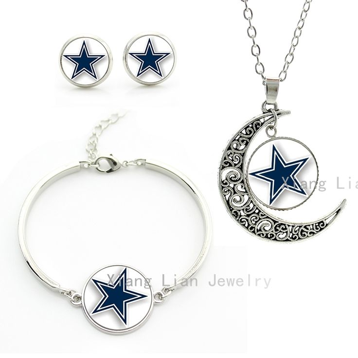Classic blue star jewelry sets Dallas Cowboys team Newest NFL american football rugby necklace earrings bracelet sets gift NF002