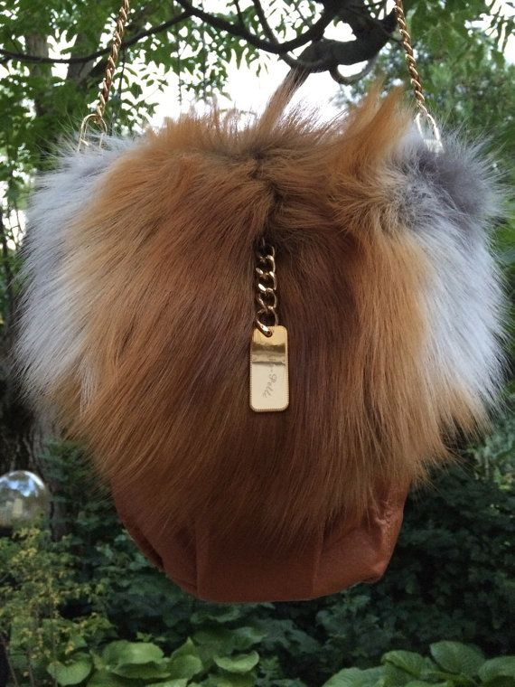 Fox Fur Crossbody Bag Handbag Shoulder Bag Cowhide Leather Real Fur Genuine…