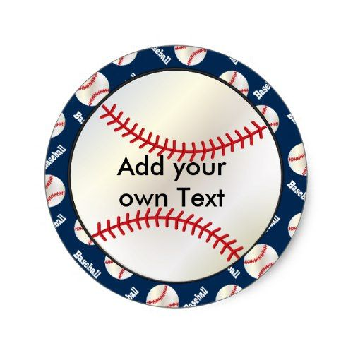 Baseball Sports Template | DIY Color & Text Classic Round Sticker