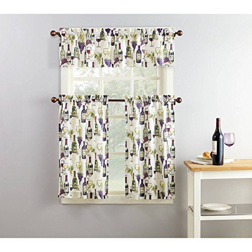 Mainstays Winery 3 Piece Kitchen Curtain And Valence Set Kitchen
