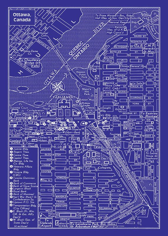 17 best maps historic etc images on pinterest antique maps maps 1949 vintage map of downtown ottawa canada blueprint 20x30 print poster malvernweather Image collections