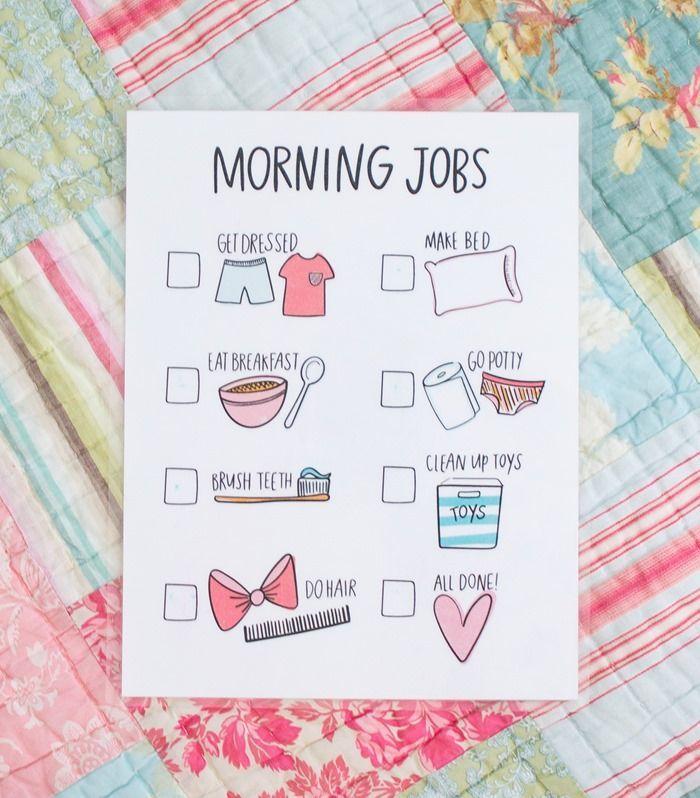 printable morning jobs for kids!