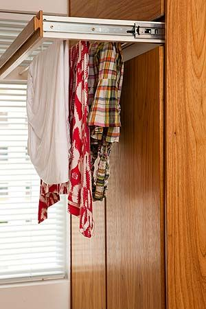 Brilliant idea - pull out drawer is designed for hanging  delicate hand wash items.