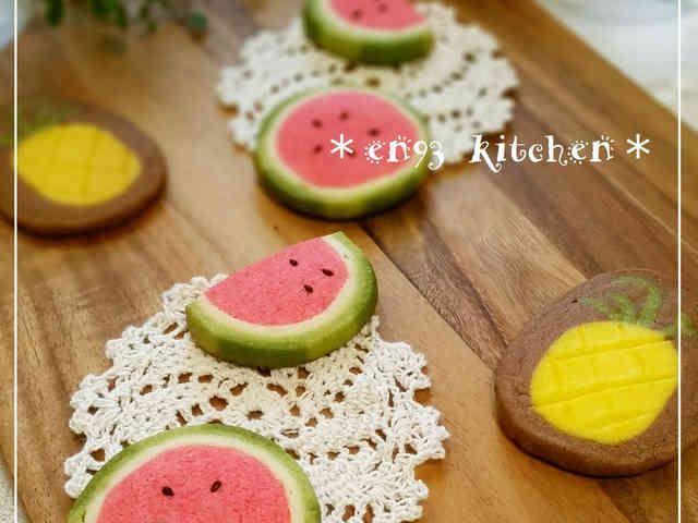 *夏*スイカのアイスボックスクッキー♡の画像
