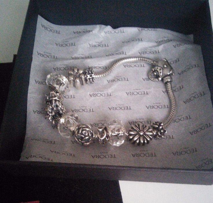 Tedora Blumen Armband mit Tedora und Pandora Beads /Elements, Silber 925.