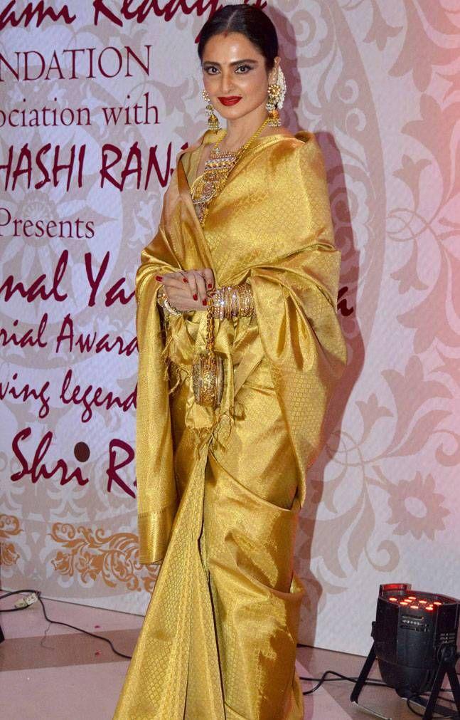 Rekha at the 3rd Yash Chopra Memorial Award. #Bollywood #Fashion #Style #Beauty #Desi #Saree