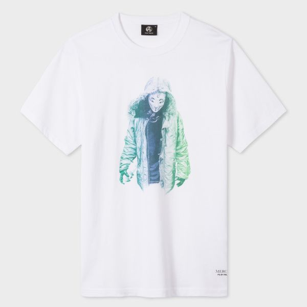 Paul Smith Men's White 'Mercutio' Shakespeare Print Organic-Cotton T-Shirt