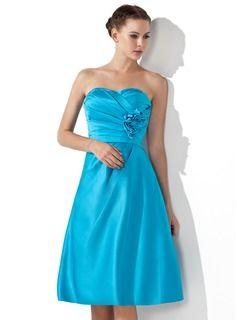 Bridesmaid Dresses - $103.99 - Empire Sweetheart Knee-Length Satin Bridesmaid Dress With Ruffle Flower(s)  http://www.dressfirst.com/Empire-Sweetheart-Knee-Length-Satin-Bridesmaid-Dress-With-Ruffle-Flower-S-007000934-g934