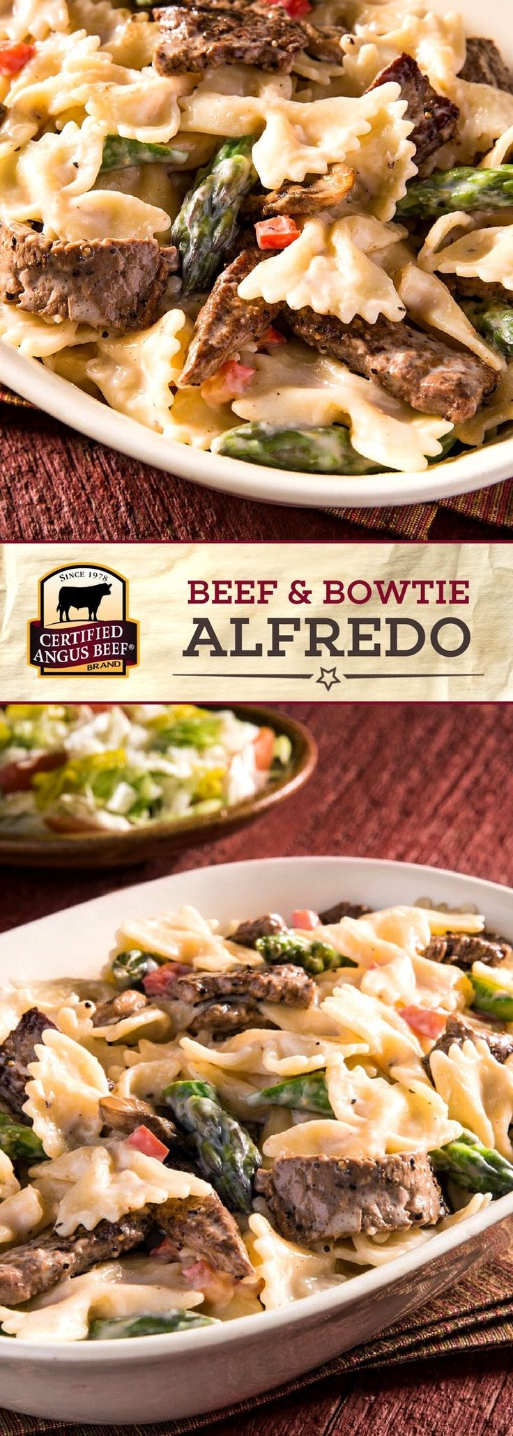 Certified Angus Beef®️ top round steak is the secret to this hearty and DELICIOUS Beef and Bowtie Alfredo recipe. Red pepper, mushrooms, and asparagus add texture and depth to this EASY pasta recipe, while the combination of Alfredo sauce and Parmesan cheese makes it extra creamy! #bestangusbeef #certifiedangusbeef #beefrecipe #pastarecipes #easyrecipes