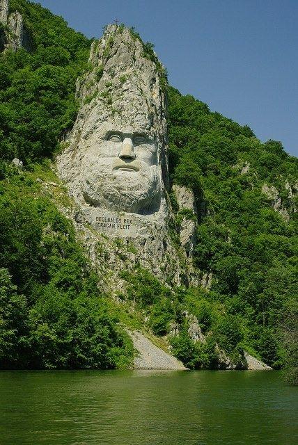 Lord of the Rings anyone? The Statue of Dacian king Decebalus, Danube River, Romania