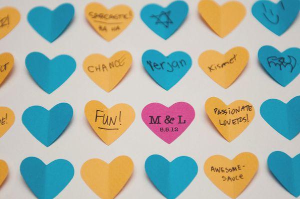 little heart notes art guest book