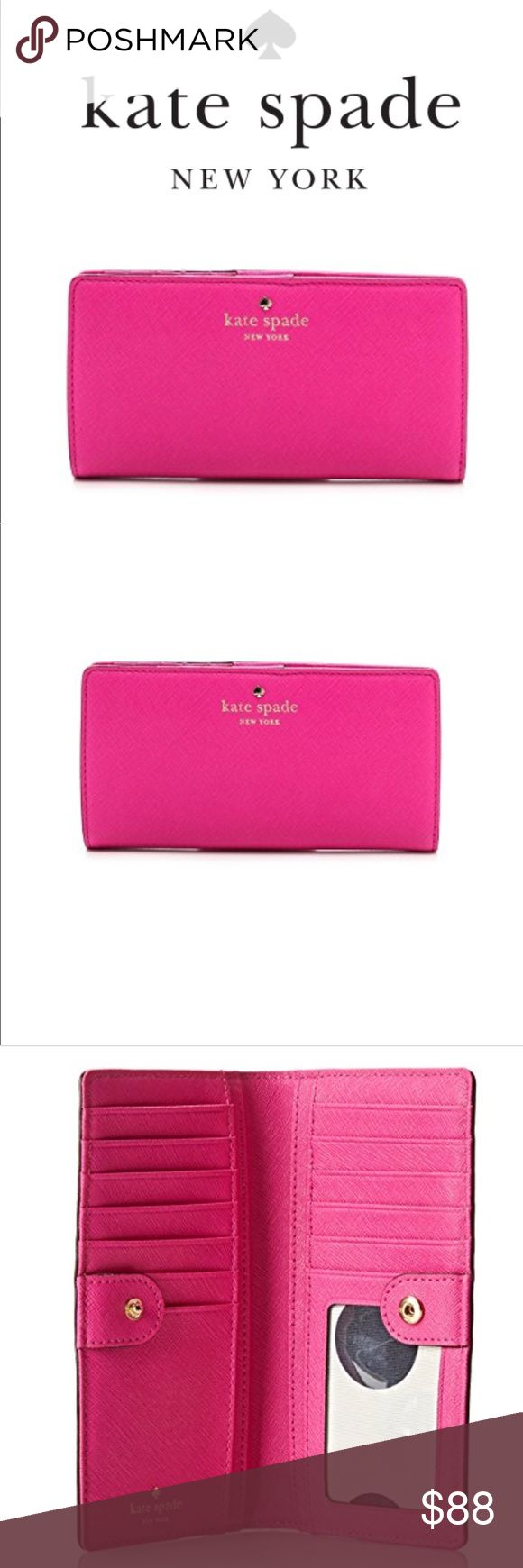 ‼️SALE‼️BRAND NEW ♠️ Wallet This Kate Spade New York Cedar Street Stacey wallet in Vivid Snapdragon is wrapped in crosshatch saffiano finished leather with 14-karat light gold plated hardware. This billfold has a snap closure, and Kate Spade's logo and heart stud accents the front. The back features an exterior zippered partial accordion pocket. The inside is wrapped in saffiano leather and custom Capital Kate spade Polka-Dot fabric. It offers 12 credit card slots, a clear ID slot and 4…